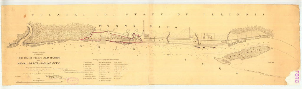 18 x 24 inch 1864 US old nautical map drawing chart of The River Front and Harbor of the Naval Deport at Mound City From  U.S. Coast Survey x1515