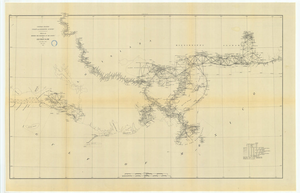 18 x 24 inch 1879 US old nautical map drawing chart of Sketch Showing the Progress of the Survey in Section #8 from 1846 to 1879 From  US Coast & Geodetic Survey x1141