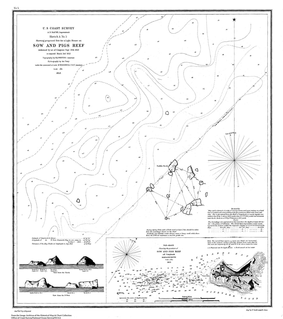 18 x 24 inch 1853 US old nautical map drawing chart of Sketch A No. 5 Showing Proposed Site for a Light House on Sow and Pigs Reef From  NOAA x4443