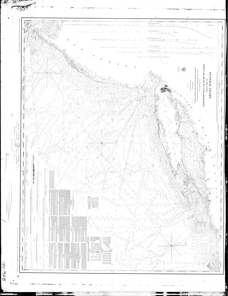 18 x 24 inch 1852 New York old nautical map drawing chart of General Chart of the Coast from Gay Head to Henlopen From  U.S. Coast Survey x7674