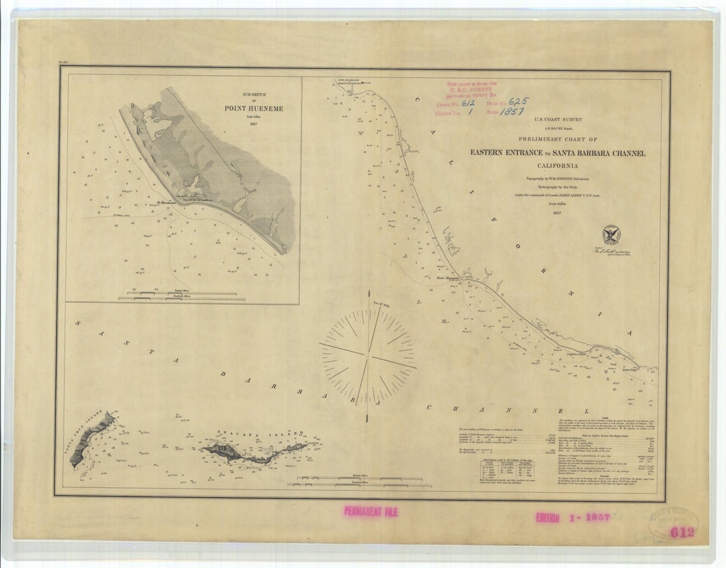 18 x 24 inch 1857 US old nautical map drawing chart of Sub-Sketch of Point Hueneme Preliminary Chart of Eastern Entrance to Santa Barbara Channel California From  U.S. Coast Survey x4644