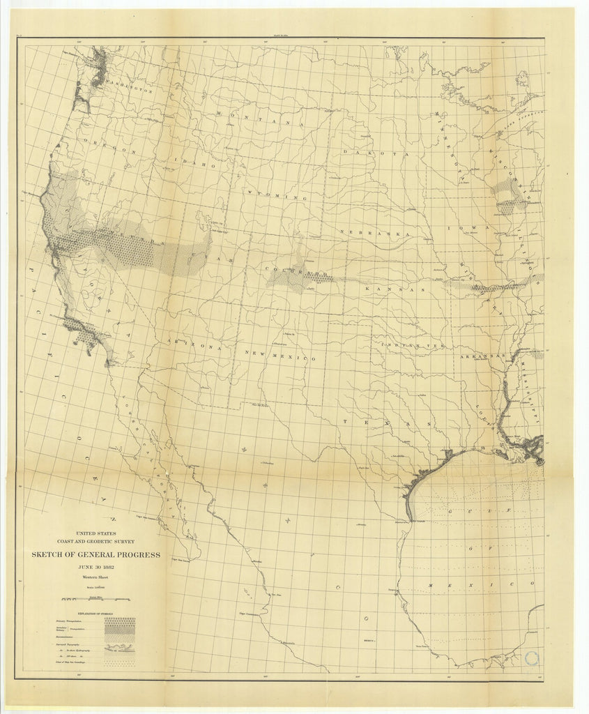 18 x 24 inch 1882 US old nautical map drawing chart of Sketch of General Progress, June 30, 1882, Western Sheet From  US Coast & Geodetic Survey x1239