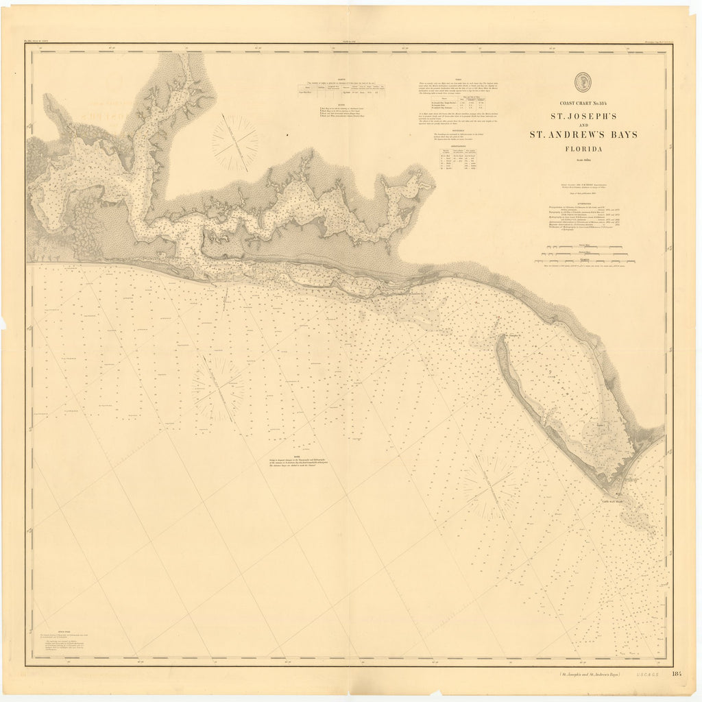 18 x 24 inch 1886 US old nautical map drawing chart of ST. JOSEPH AND ST. ANDREW BAYS, FLORIDA From  US Coast & Geodetic Survey x2130