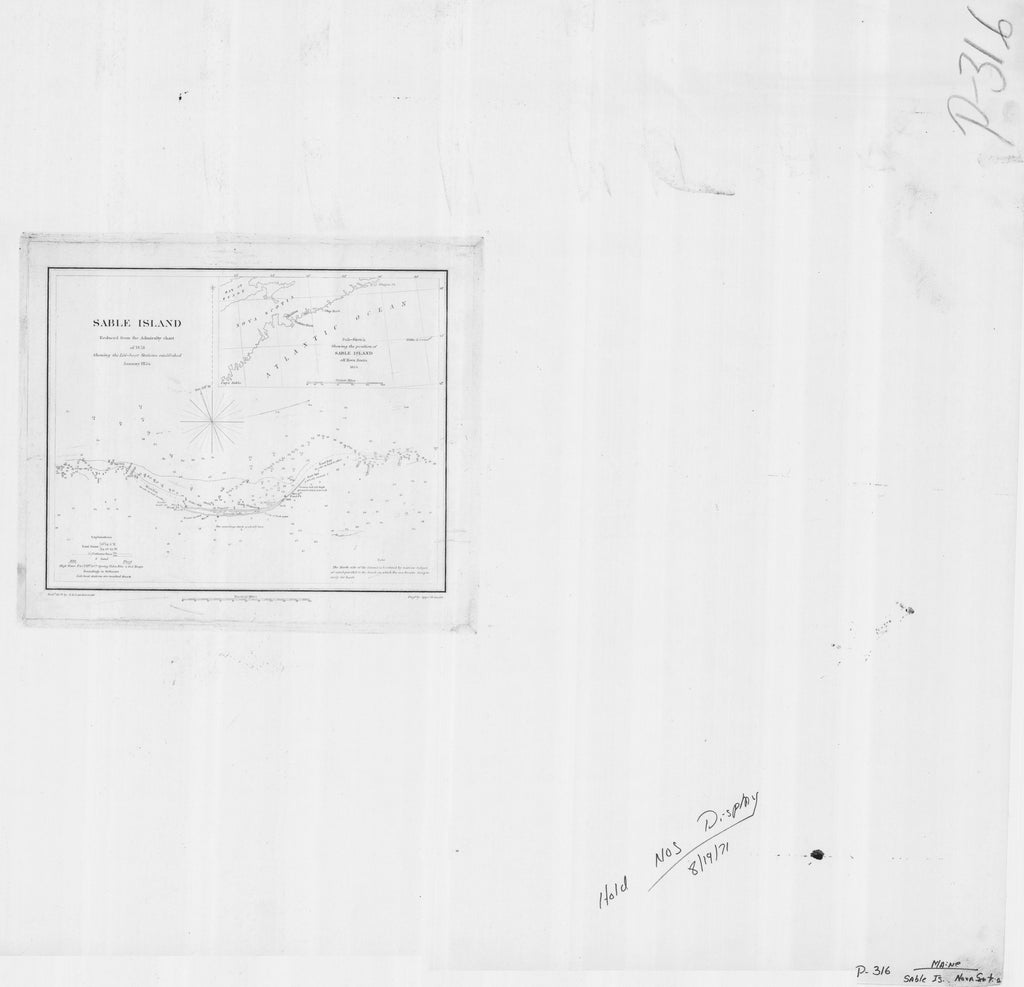 18 x 24 inch 1854 USA old nautical map drawing chart of SABLE ISLAND From  U.S. Coast Survey x11999