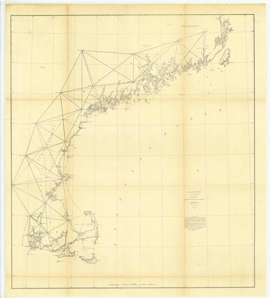 18 x 24 inch 1855 US old nautical map drawing chart of Sketch A Showing the Primary Triangulation in Section Number 1 from 1844 to 1855 From  U.S. Coast Survey x5848