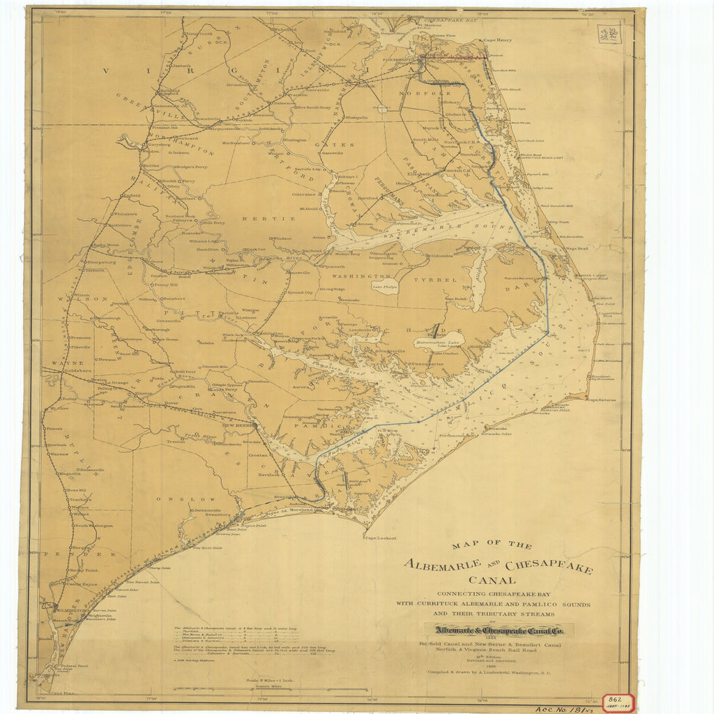 1855 Virginia Map Of The Albemarle And Chesapeake Canal Connecting