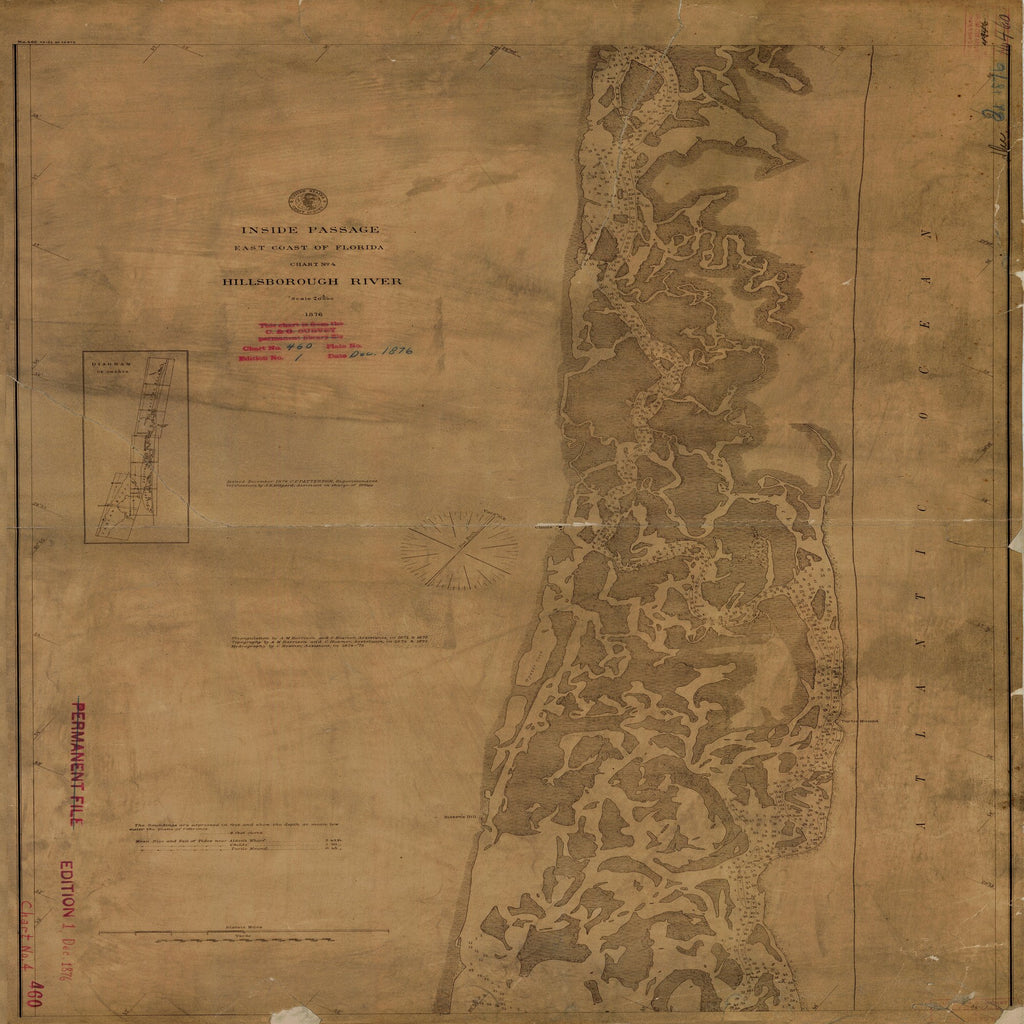 18 x 24 inch 1876 US old nautical map drawing chart of HILLSBOROUGH RIVER From  U.S. Coast Survey x1301