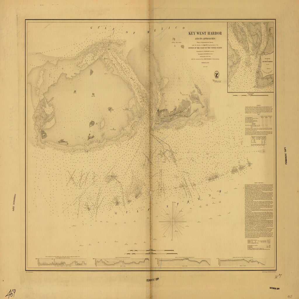 18 x 24 inch 1855 US old nautical map drawing chart of KEY WEST HARBOR From  US Coast & Geodetic Survey x1747