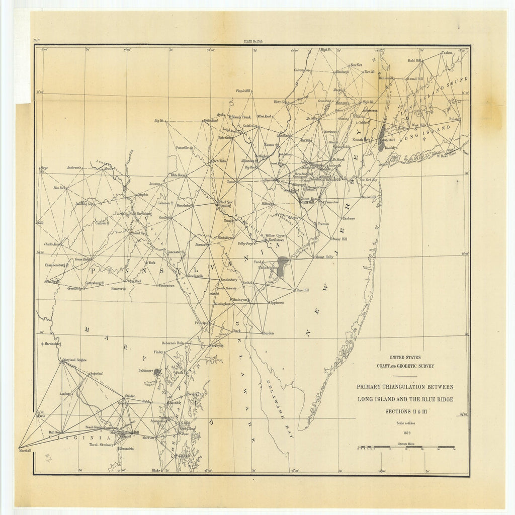 18 x 24 inch 1879 US old nautical map drawing chart of Primary Triangulation Between Long Island and the Blue Ridge, Sections 2 and 3 From  US Coast & Geodetic Survey x1953