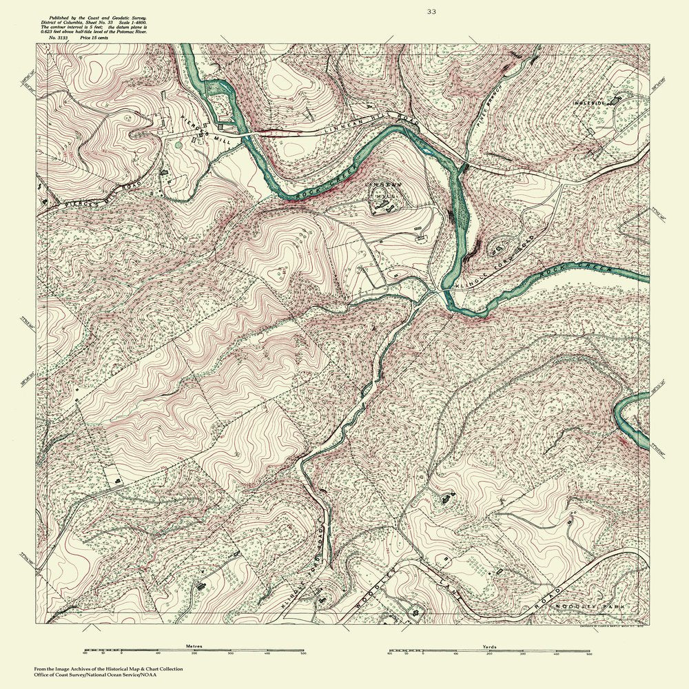 18 x 24 inch 1888 US old nautical map drawing chart of Topographic Map of Washington and Vicinity, Sheet 33 From  NOAA x683