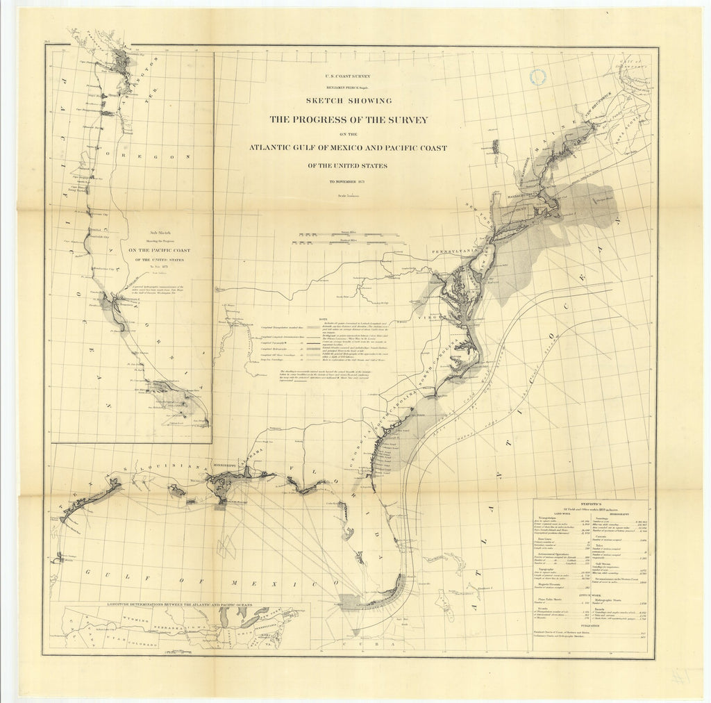 18 x 24 inch 1871 US old nautical map drawing chart of Sketch Showing the Progress of the Survey on the Atlantic Gulf of Mexico and Pacific Coast of the United States to November 1871.. From  U.S. Coast Survey x1823