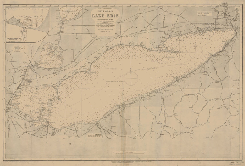 18 x 24 inch 1898 Ohio old nautical map drawing chart of LAKE ERIE From  Lake Survey x6745