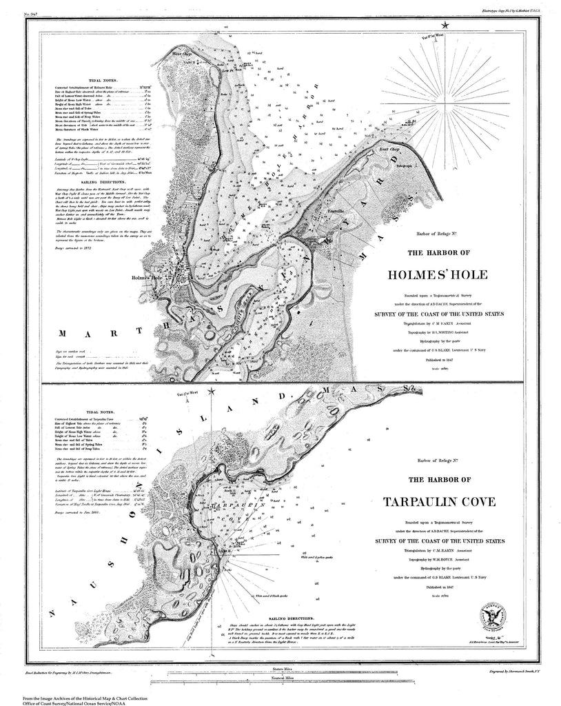 18 x 24 inch 1847 US old nautical map drawing chart of Nautical Chart of Holme's Hole and Tarpauliin Cove From  U.S. Coast Survey x2699
