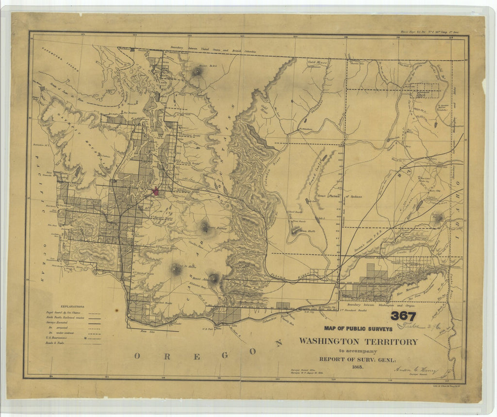 18 x 24 inch 1863 Washington old nautical map drawing chart of Map of Public Surveys in the Territory of Washington for the Report of Surv. Genl. 1863 From  : Surveyor General Office x11794