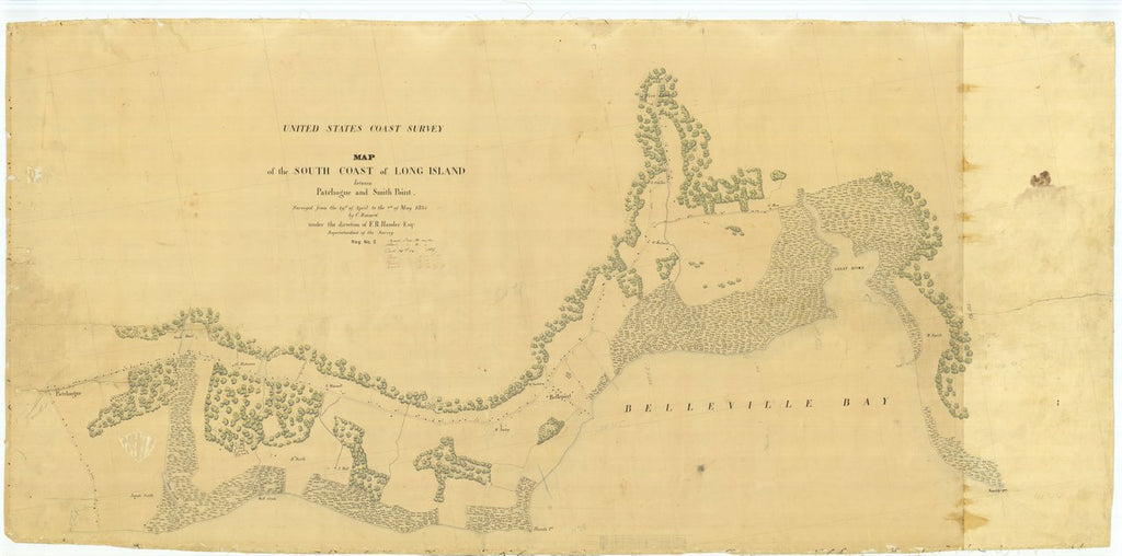 18 x 24 inch 1835 New York old nautical map drawing chart of Map of the South Coast of Long Island between Patchogue and Smith Point From  U.S. Coast Survey x8364
