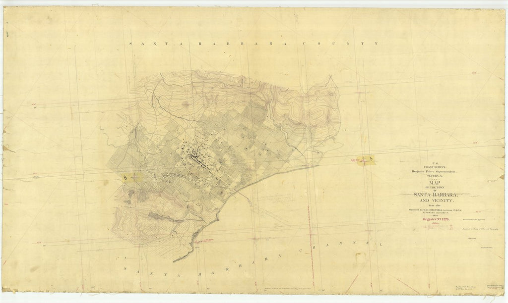 18 x 24 inch 1870 US old nautical map drawing chart of Town of Santa Barbara and Vicinity, CA From  U.S. Coast Survey x434