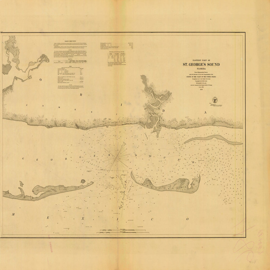 18 x 24 inch 1859 US old nautical map drawing chart of ST. GEORGE'S SOUND From  U.S. Coast Survey x1376
