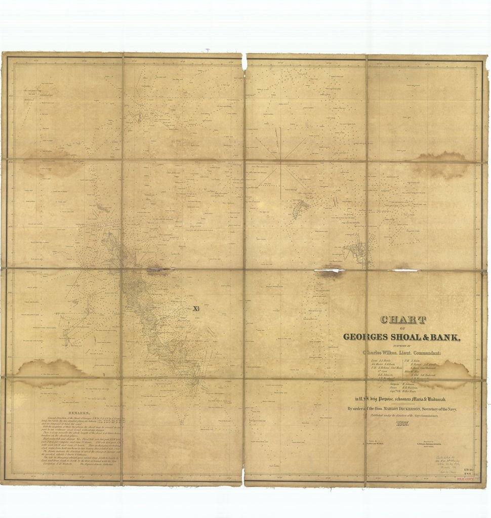 18 x 24 inch 1837 US old nautical map drawing chart of Chart of Georges Shoal and Bank From  US Navy x3471