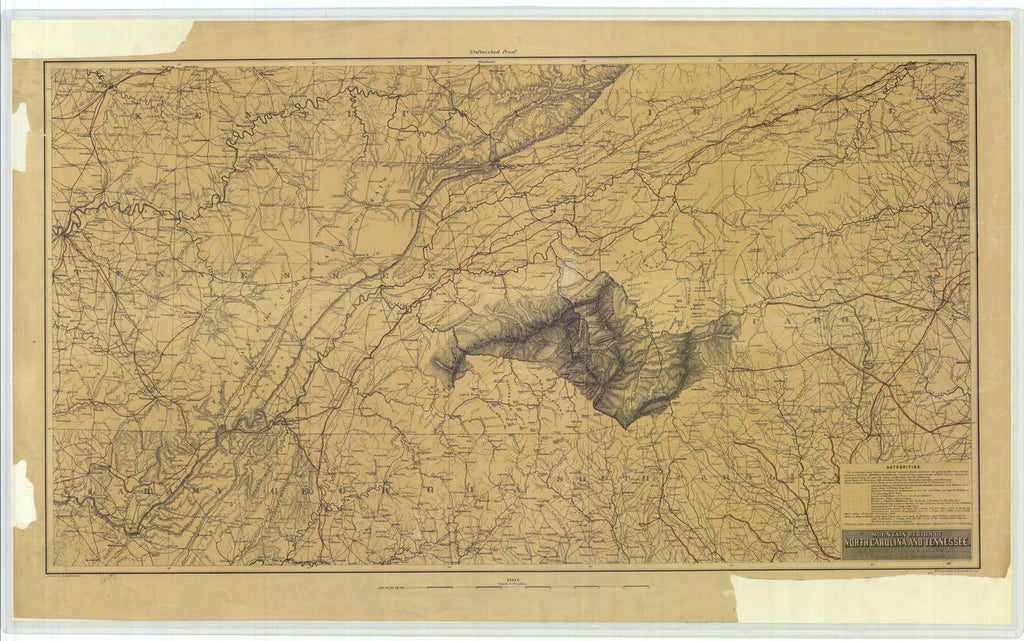 18 x 24 inch 1863 US old nautical map drawing chart of Mountain Region of North Carolina and Tennessee Unfinished Proof From  U.S. Coast Survey x2889