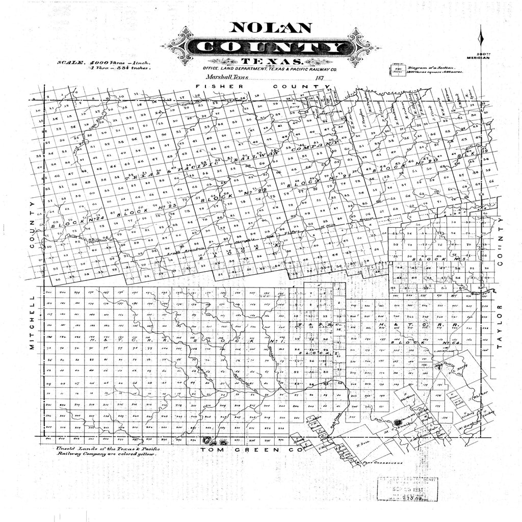 18 x 24 inch 1876 Texas old nautical map drawing chart of Nolan County, Texas From  Land Department, Texas & Pacific RW Co. x11686
