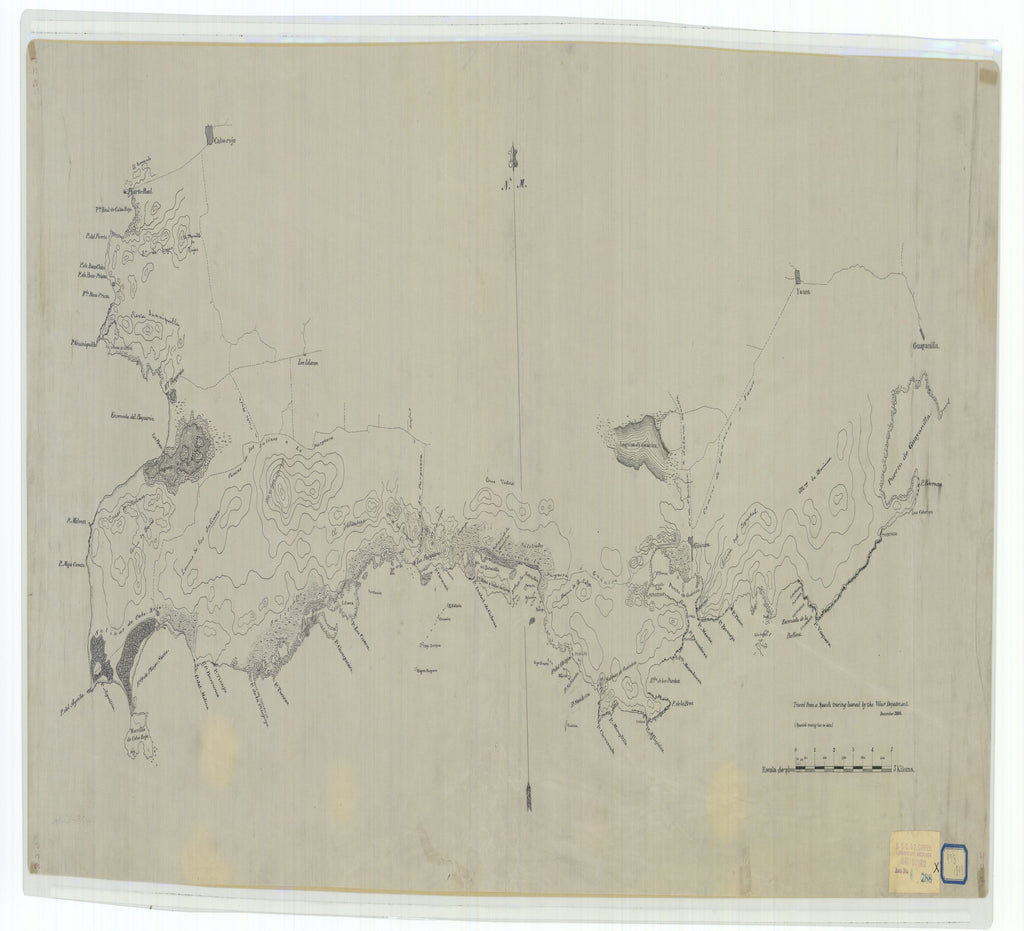 18 x 24 inch 1898 OTHER old nautical map drawing chart of Tracing made from a Spanish Tracing Loaned by the War Department From  War Department x7311