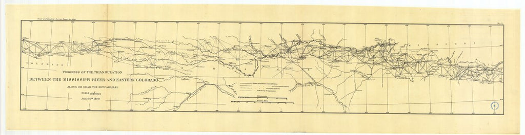 18 x 24 inch 1890 US old nautical map drawing chart of Progress of the triangulation between the Ohio and Mississippi rivers and eastern Colorado along or near the thirtyninth parallel From  US Coast & Geodetic Survey x52