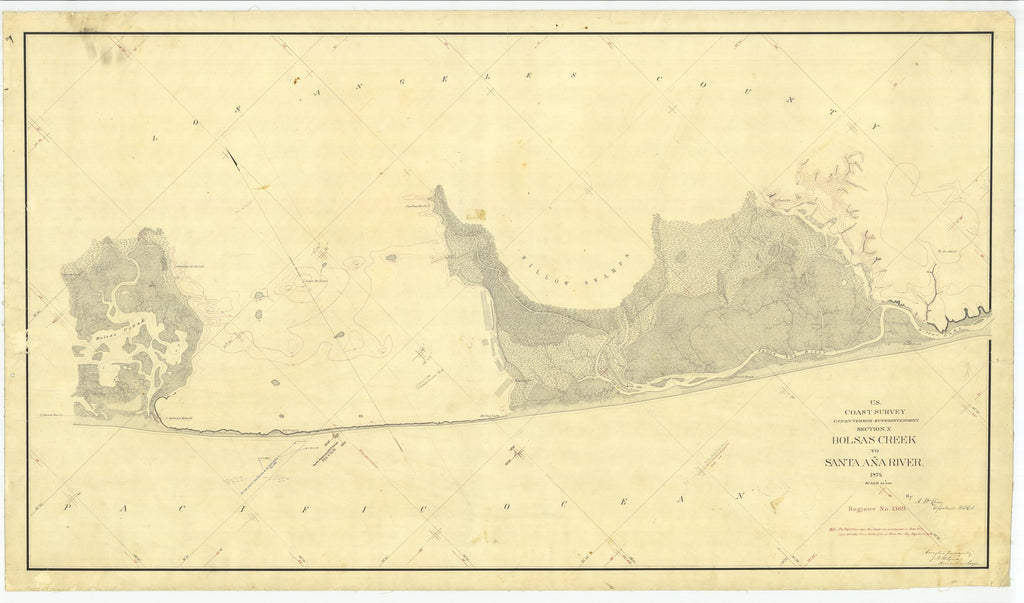 18 x 24 inch 1874 US old nautical map drawing chart of Bolsas Creek to Santa Ana River, California From  U.S. Coast Survey x2085