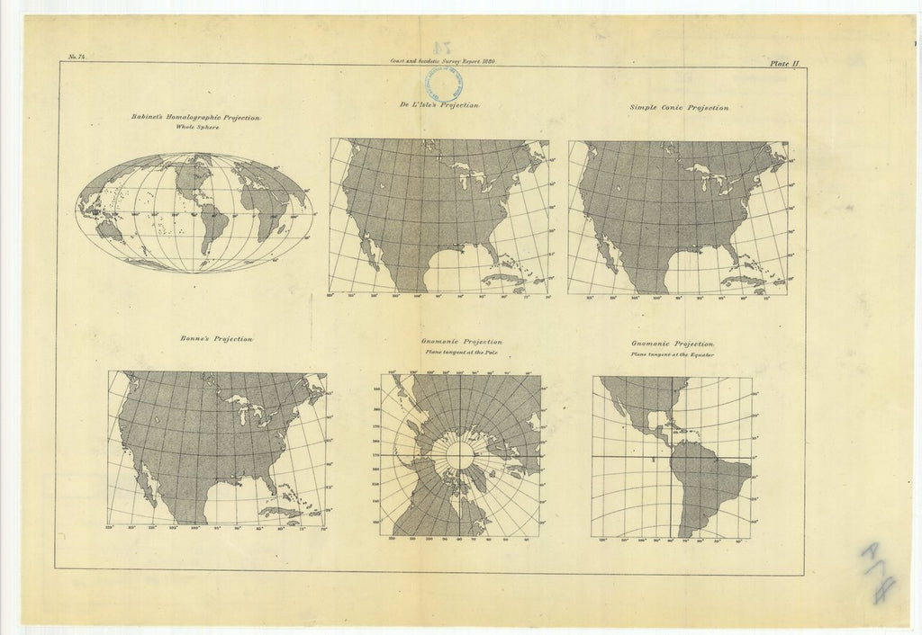 18 x 24 inch 1880 US old nautical map drawing chart of Habinet's Homalographic Projection with De L'Isle's Projection, Simple Conic Projection, Gnomonic Projection, Bonne's Projection, From  US Coast & Geodetic Survey x180