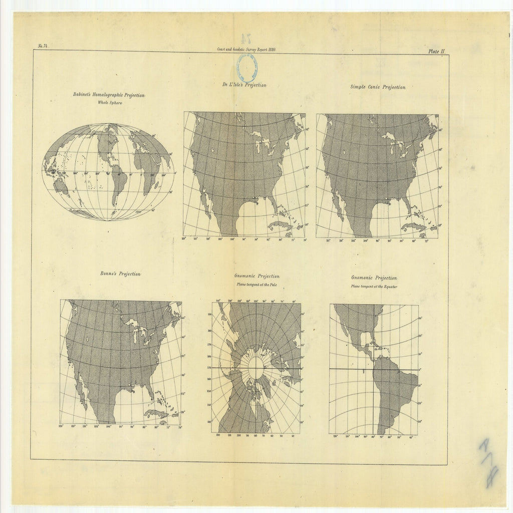 18 x 24 inch 1880 Texas old nautical map drawing chart of Habinet's Homalographic Projection with De L'Isle's Projection, Simple Conic Projection, Gnomonic Projection, Bonne's Projection, From  US Coast & Geodetic Survey x11972
