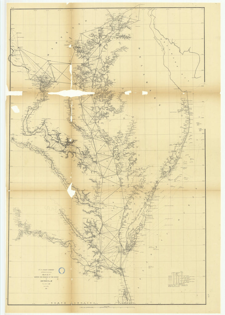 18 x 24 inch 1868 North Carolina old nautical map drawing chart of Sketch C Showing the Progress of the Survey in Section Number 3 from 1843 to 1868 From  U.S. Coast Survey x7191