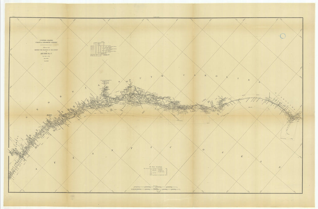 18 x 24 inch 1882 US old nautical map drawing chart of Sketch Showing the Progress of the Survey in Section #5 from 1847 to 1882 From  US Coast & Geodetic Survey x964