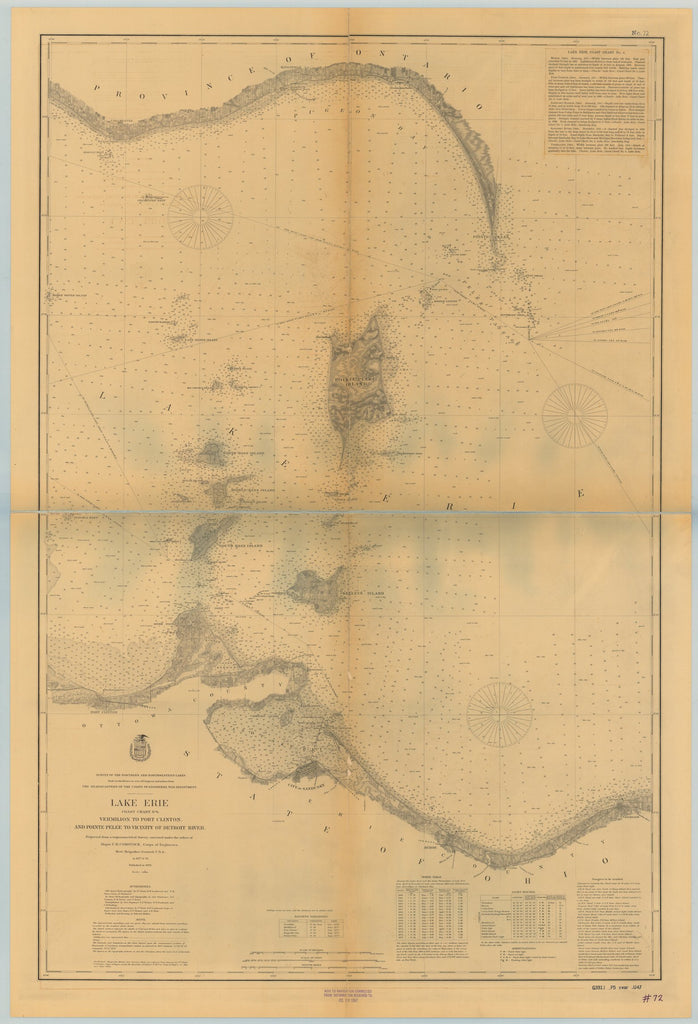 18 x 24 inch 1897 Ohio old nautical map drawing chart of LAKE ERIE VERMILION TO PORT CLINTON, AND POINTE PELEE TO VICINITY OF DETROIT RIVER From  Lake Survey x6730