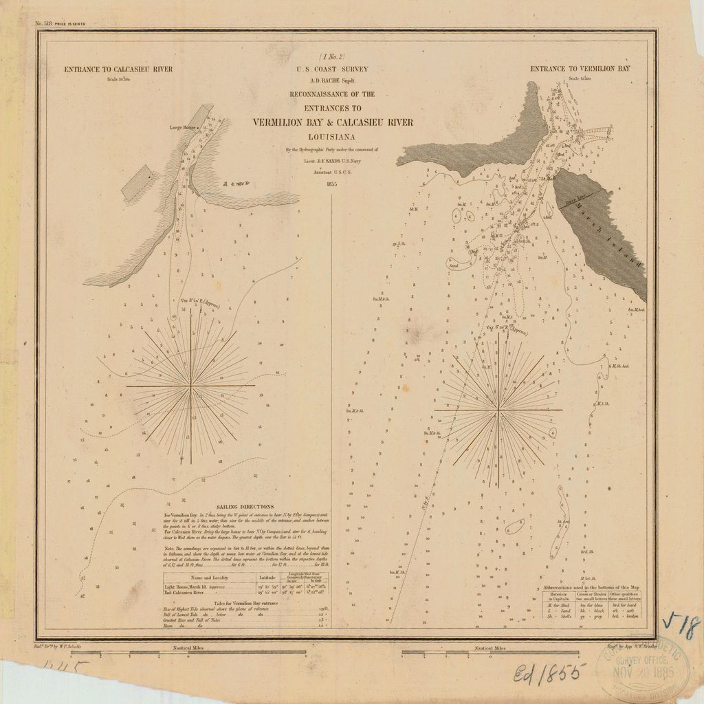 18 x 24 inch 1855 US old nautical map drawing chart of VERMILION BAY AND CALCASIEU RIVER From  US Coast & Geodetic Survey x3007