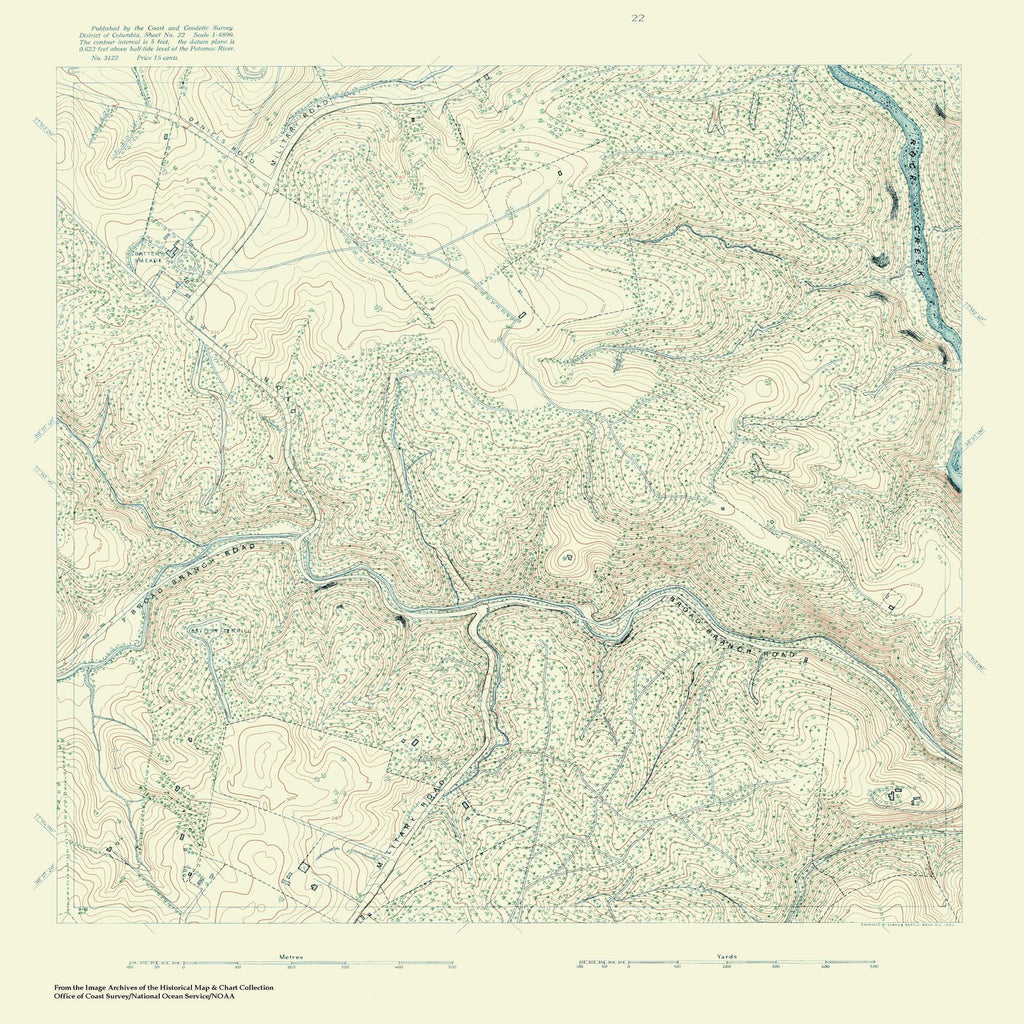 18 x 24 inch 1880 US old nautical map drawing chart of Topographic Map of Washington and Vicinity, Sheet 22 From  NOAA x1094