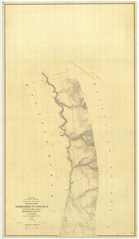 18 x 24 inch 1870 US old nautical map drawing chart of Alder Creek to Welch North of Point Area Mendocino County From  U.S. Coast Survey x432