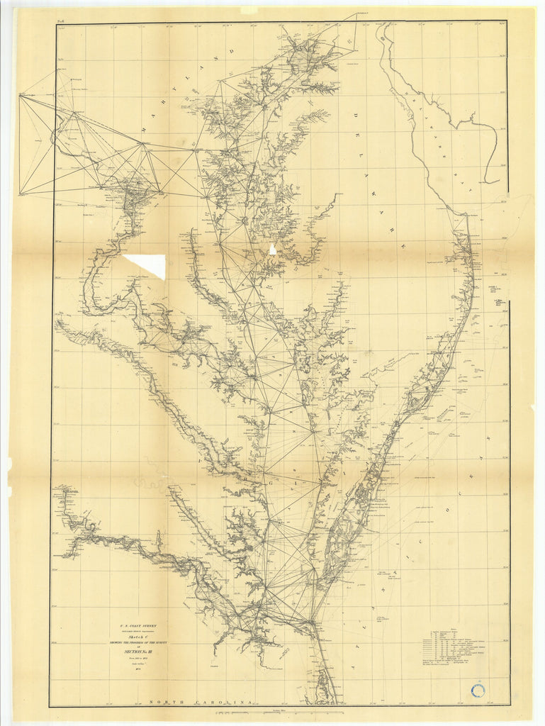 18 x 24 inch 1873 North Carolina old nautical map drawing chart of Sketch C Showing the Progress of the Survey in Section Number 3 from 1843 to 1873 From  U.S. Coast Survey x7200