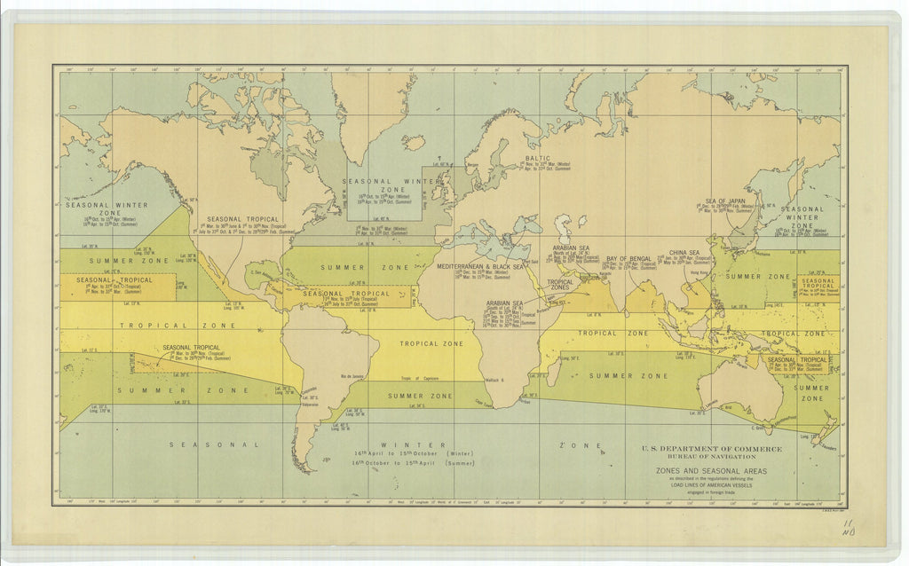 18 x 24 inch 0 Vermont old nautical map drawing chart of Zones and Seasonal Areas as Described in the Regulations Defining the Load Lines of American Vessels Engaged in Foreign Trade From  US Coast & Geodetic Survey x10436