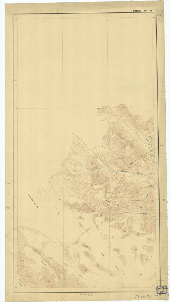 18 x 24 inch 1895 US old nautical map drawing chart of Sheet #18 From  Department of the Interior x2613