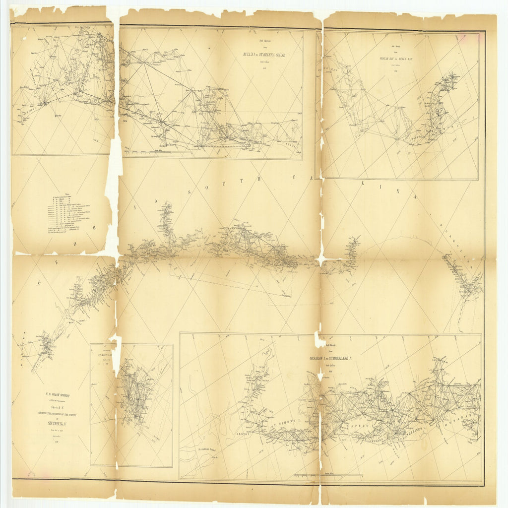 18 x 24 inch 1858 US old nautical map drawing chart of Sketch E Showing the Progress of the Survey in Section Number 5 from 1847 to 1858 with Sub Sketch of Saint Mary's River and.. From  U.S. Coast Survey x3196