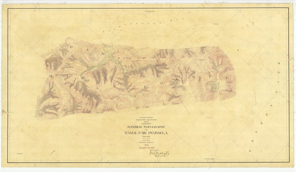 18 x 24 inch 1872 US old nautical map drawing chart of Interior Topography of Tamalpais Peninsula, California From  U.S. Coast Survey x465