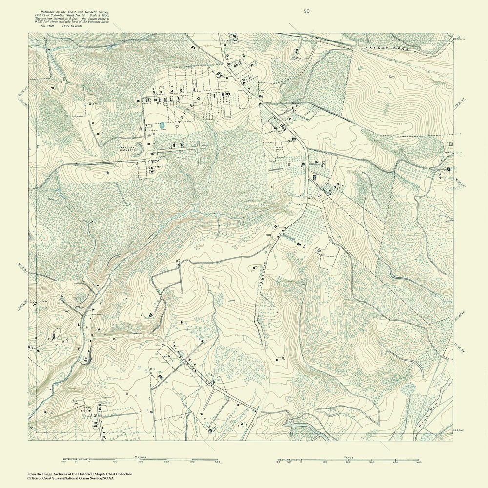 18 x 24 inch 1888 US old nautical map drawing chart of Topographic Map of Washington and Vicinity, Sheet 50 From  NOAA x673