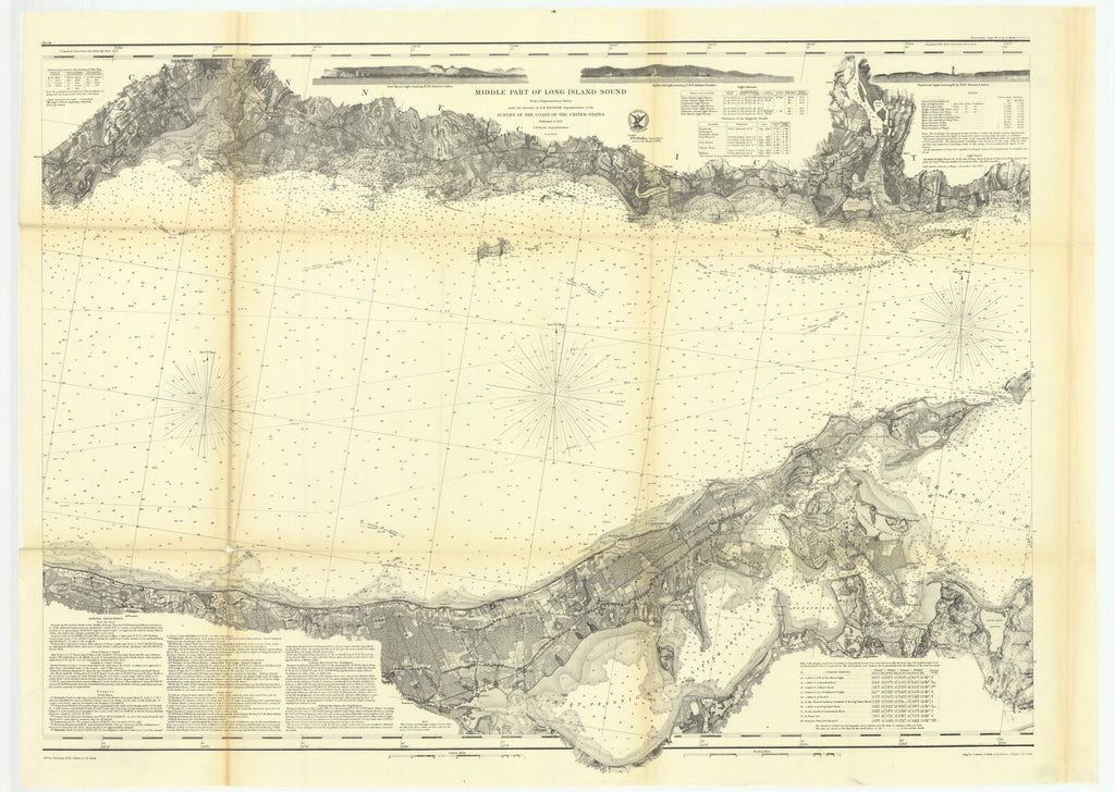 18 x 24 inch 1864 New York old nautical map drawing chart of Middle Part of Long Island Sound From  U.S. Coast Survey x7048