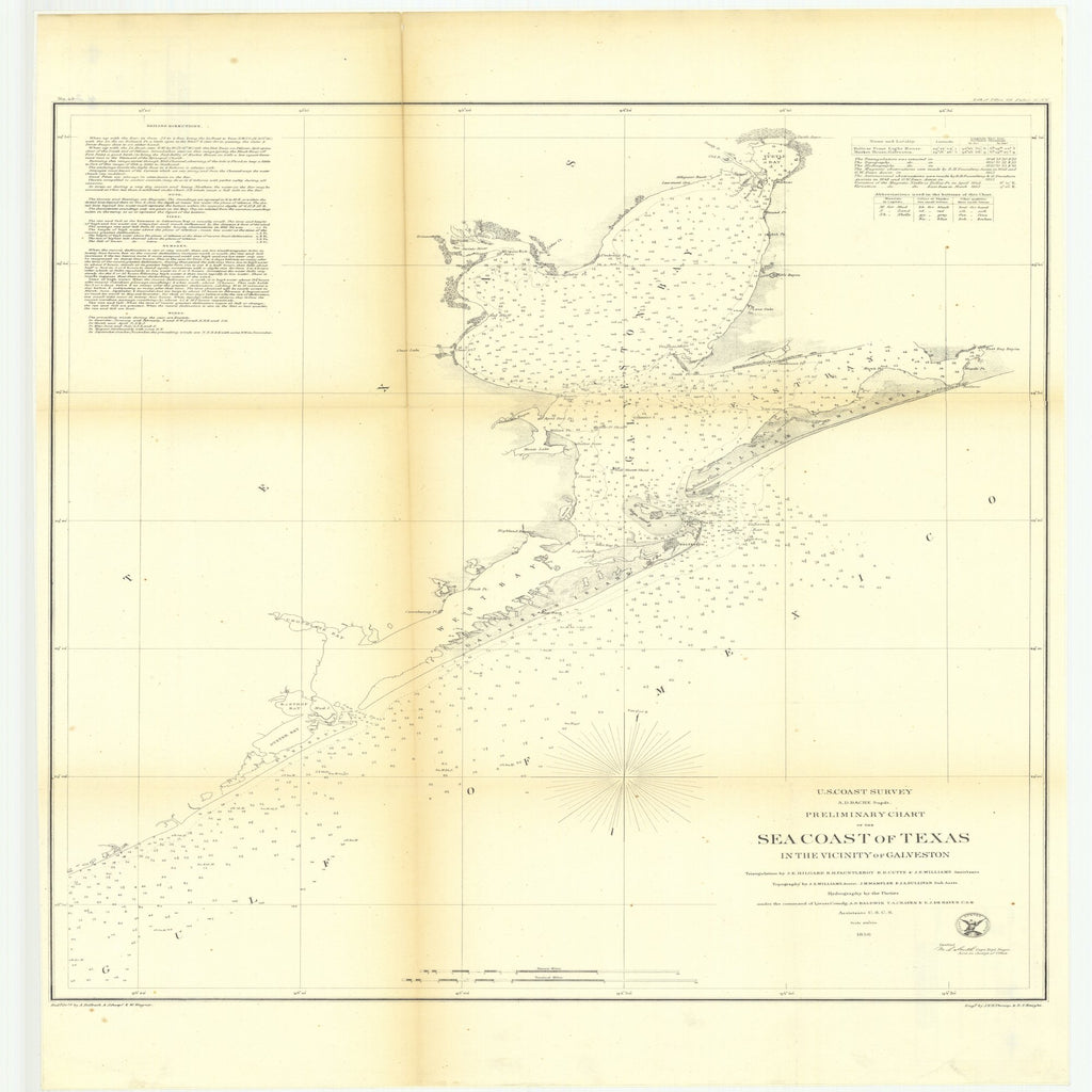 18 x 24 inch 1856 Texas old nautical map drawing chart of Preliminary Chart of the Sea Coast of Texas in the Vicinity of Galveston From  U.S. Coast Survey x11693
