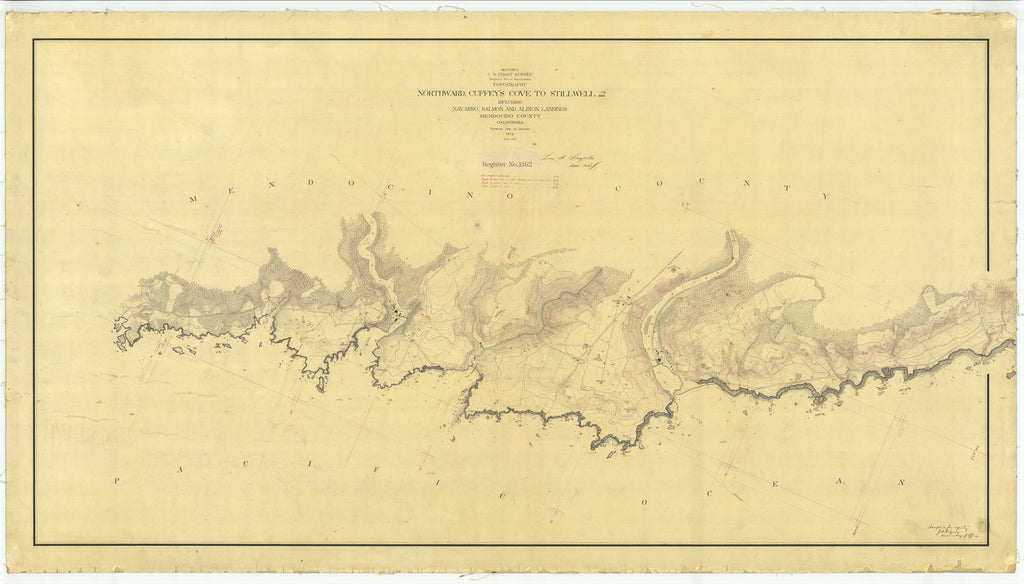 18 x 24 inch 1872 US old nautical map drawing chart of Northward, Cuffeys Cove to Stillwell including Navarro, Salmon and Albion Landings From  U.S. Coast Survey x2059