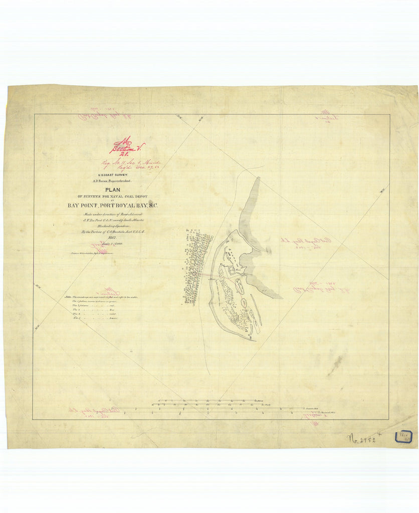 18 x 24 inch 1862 South Carolina old nautical map drawing chart of Plan of Surveys for Naval Coal Depot at Bay Point Port Royal Bay South Carolina From  U.S. Coast Survey x7551