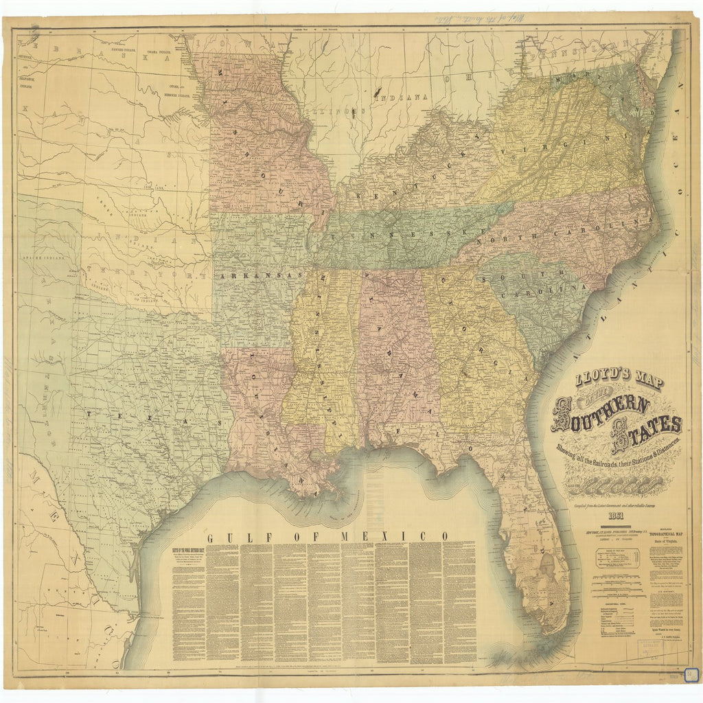 18 x 24 inch 1861 US old nautical map drawing chart of Lloyd's Map of the Southern States Showing all the Railroads Their Stations and Distances also the Counties Towns Villages Harbors Rivers and Forts From  J.T. Lloyd x1969