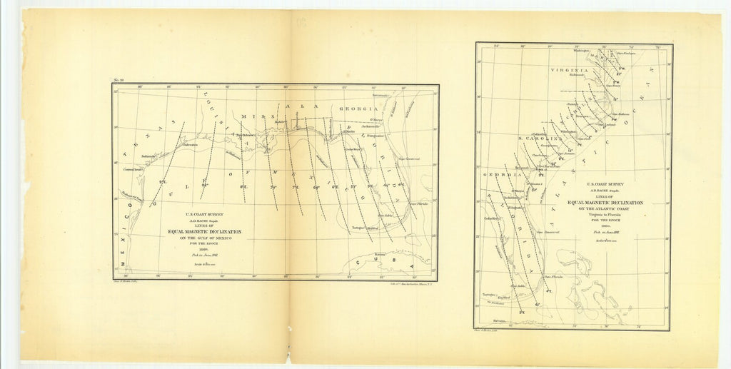 18 x 24 inch 1861 US old nautical map drawing chart of Lines of Equal Magnetic Declination on the Gulf of Mexico for the Epoch with Lines of Equal Magnetic Declination on the Atlantic Coast, Virginia to Florida for the Epoch From  U.S. Coast Survey x2943