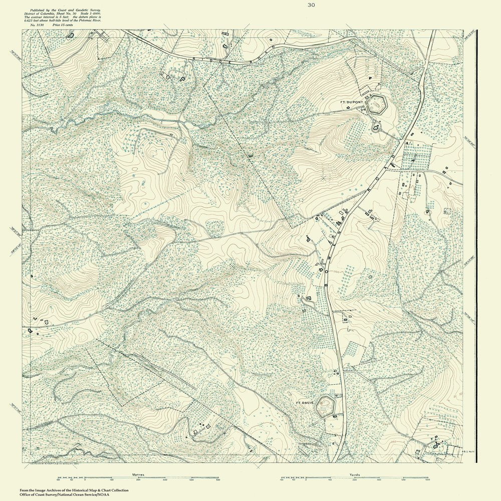 18 x 24 inch 1888 US old nautical map drawing chart of Topographic Map of Washington and Vicinity, Sheet 30 From  NOAA x1066