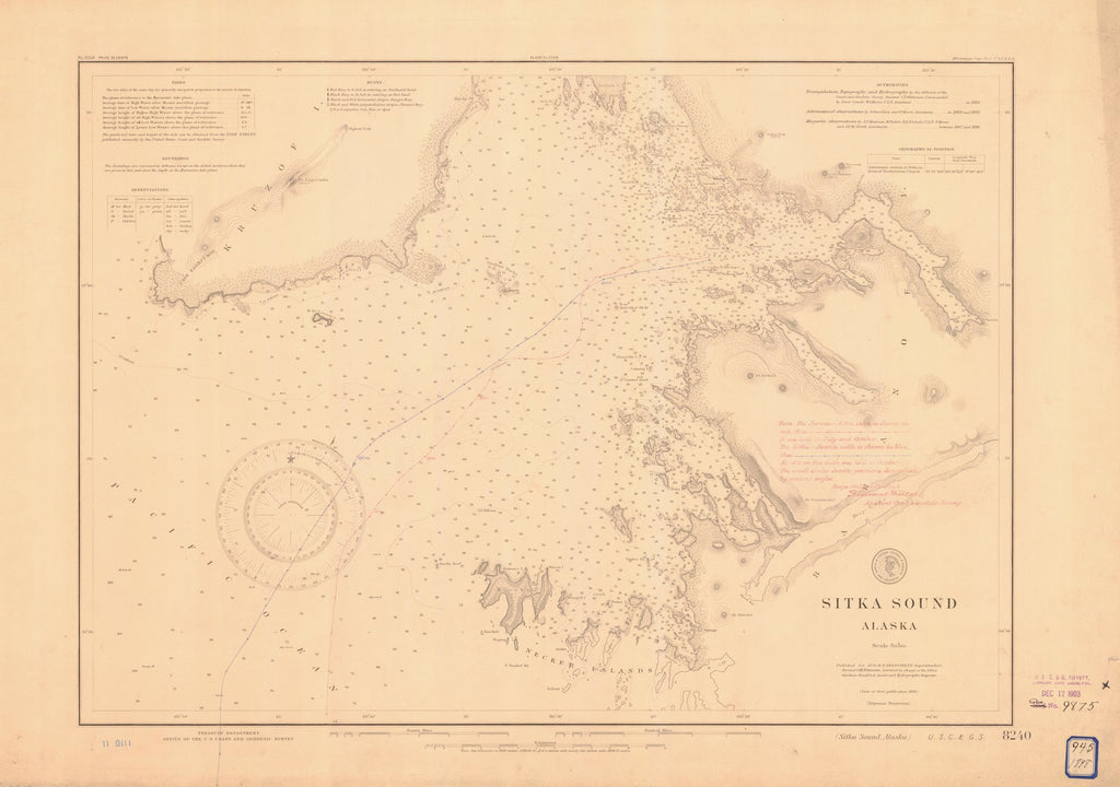 18 x 24 inch 1898 US old nautical map drawing chart of SITKA SOUND From  US Coast & Geodetic Survey x2163