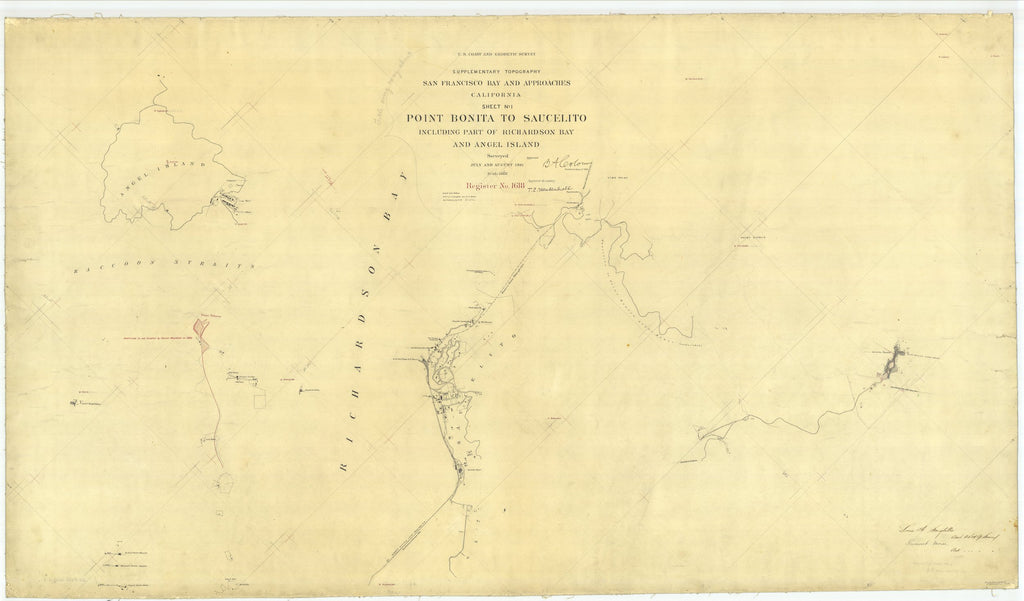 18 x 24 inch 1881 US old nautical map drawing chart of Point Bonita to Saucelito, California From  US Coast & Geodetic Survey x2432